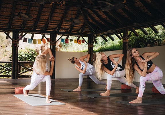 group yoga retreat in outdoor pavilion