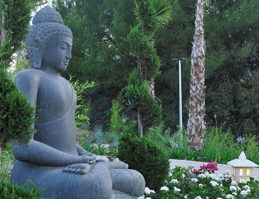 calm buddha at yoga retreat meditating