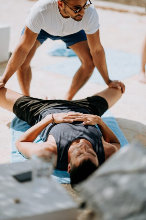 men stretching fitness